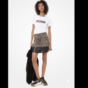 MICHAEL KORS Leopard Print and Leather Skirt